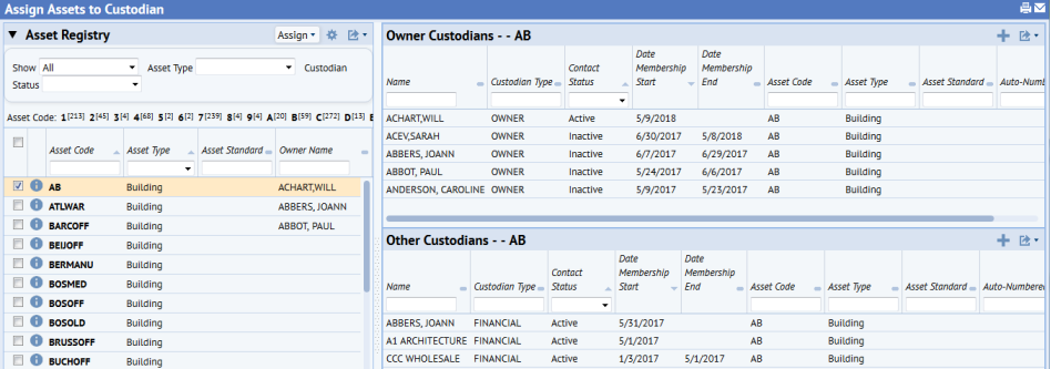 Assign Assets to Custodians and Manage