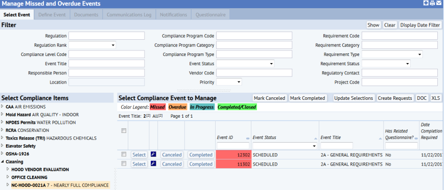 Managing Missed and Overdue Events